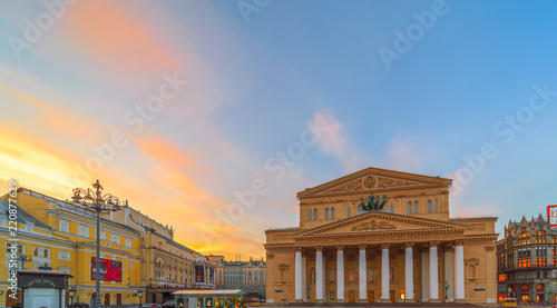 Spoed Foto op Canvas Theater The Bolshoi Theater in Moscow on the background of a beautiful sunset.