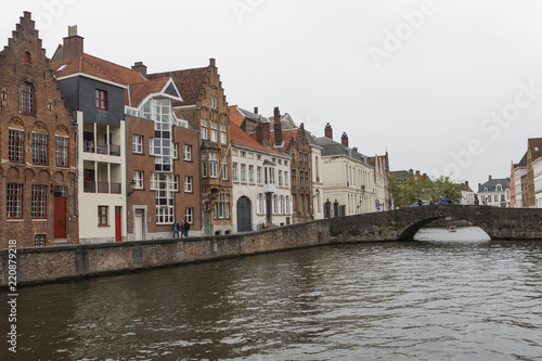 Fotografie, Obraz  Bruges (Brugge) cityscape with water canal, Flanders, Belgium