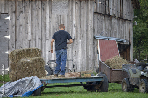 Fotografie, Obraz  Young Farmer Transporting Hay to a Wagon