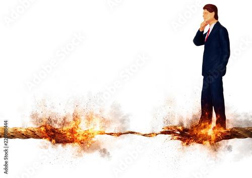 燃えるロープの上に立つビジネスマン Canvas Print