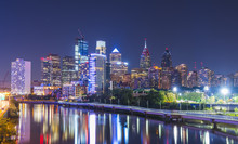 Philadelphia,pennsylvania,PA,usa. 8-23-17:philadelphia Skyline At Night With Reflection In River.