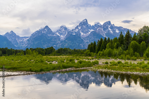 grand teton national park on the day with reflection in river. Poster Mural XXL
