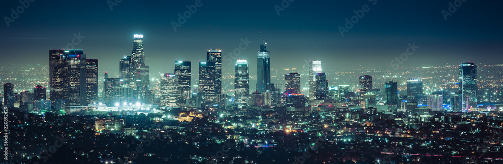 Fototapety, obrazy: scenic view of Los Angeles skyscrapers at night,California,usa.