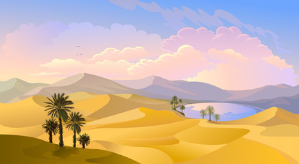 Oasis in the middle of the desert. Palm trees, pond and sands of Arabia