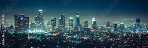 obraz dibond scenic view of Los Angeles skyscrapers at night,California,usa.