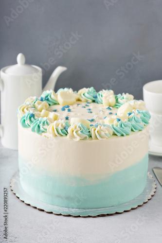 Fotografie, Obraz  Simple baby shower or baptism cake
