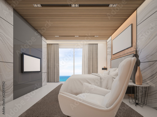 Master bedroom in Hotel with sea view , Luxury style decor by marble and copper , 3d rendering