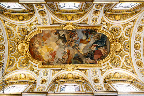 Frescos and paintings on the ceiling of Church of St. Louis of the French (San Luigi dei Frances) in Rome, Italy