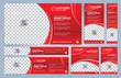 Red Web banners templates, standard sizes with space for photo, modern design