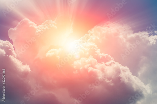 Photo heaven cloud sky sunny bright for future wealth fortune day concept