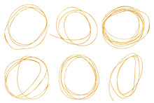 Doodle Circle Gold Drawing Sphere Set With Golden Texture