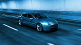 Fototapeta Perspektywa 3d - Modern Electric car rides through tunnel with cold blue light style 3d rendering