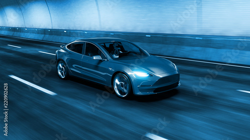 Fotografiet  Modern Electric car rides through tunnel with cold blue light style 3d rendering
