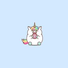 Cute Fat Unicorn Eating Donut Cartoon, Vector Illustration