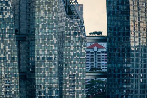 Deurstickers Stad gebouw Modern glass skyscrapers, close-up