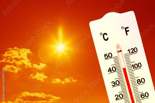 Fotografija Summer heat. Thermometer shows high temperature in summer.