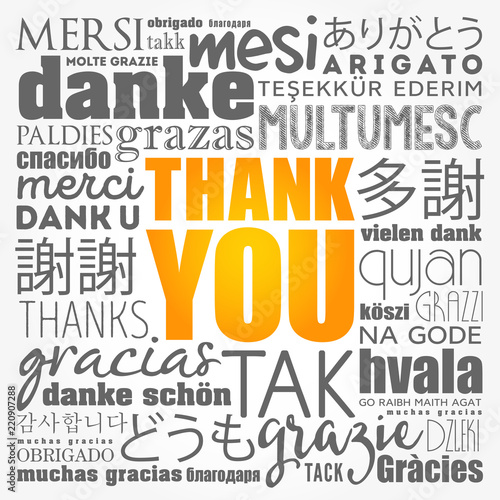 Valokuva  Thank You word cloud in different languages, concept background