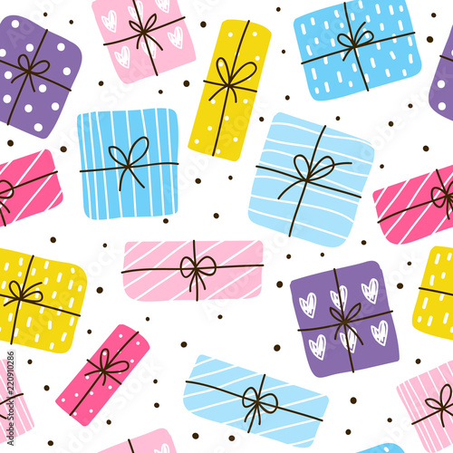 Tapety kolorowe  seamless-pattern-with-color-gift-boxes