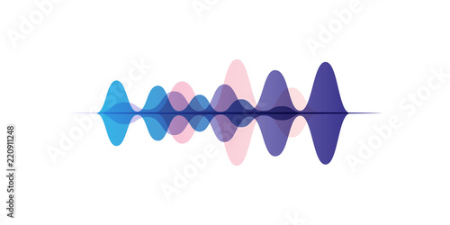 Sound waves of different colors, audio digital equalizer technology, vector Illu Wallpaper Mural