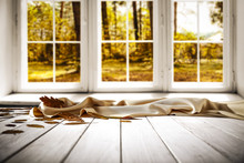 Table Of Free Space For Your Decoration And Autumn Window Background