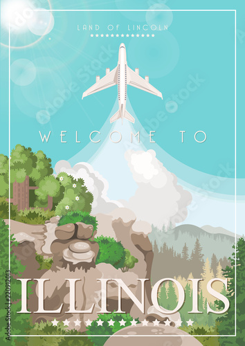 Poster Turquoise Illinois state. United States of America. Postcard from Chicago and Springfield. Travel vector