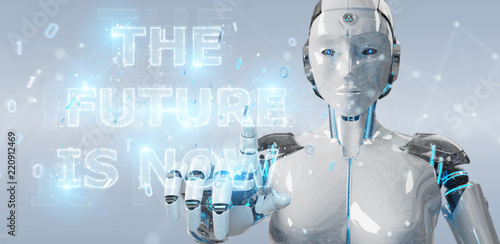 Photo  White cyborg woman using future decision text interface 3D rendering