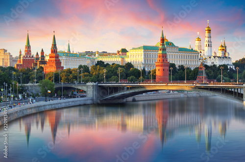 Fotobehang Aziatische Plekken Moscow Kremlin and river in morning, Russia