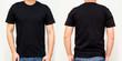 Leinwanddruck Bild - Black T-Shirt front and back, Mock up template for design print