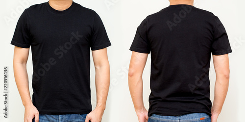 Stampa su Tela Black T-Shirt front and back, Mock up template for design print