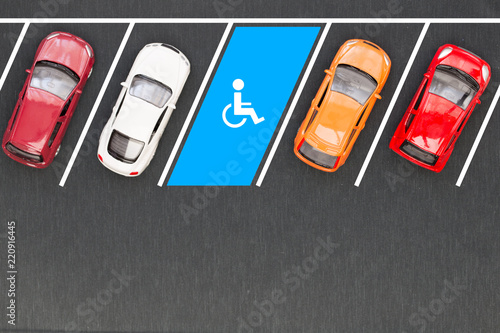 Fototapety, obrazy: Top view of parking for the disabled