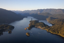 Aerial View Of Deep Cove During A Vibrant Sunny Summer Evening. Taken In Vancouver, BC, Canada.