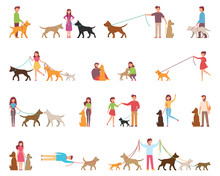 Young People Are Walking Dogs. Variety Of Rocks. The Dog Is Next To Its Owner On A Leash. Vector Illustration In A Flat Style On A White Background Cartoon