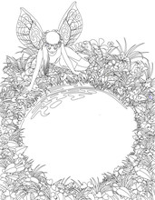 Linear Drawing Of The Fairy Girl With Wings Near The Round Pond Bordered By Plants