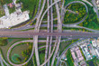 canvas print picture - City transport junction road aerial view with car movement