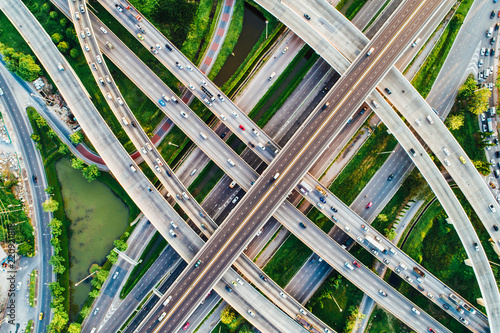 City transport junction road aerial view with car movement