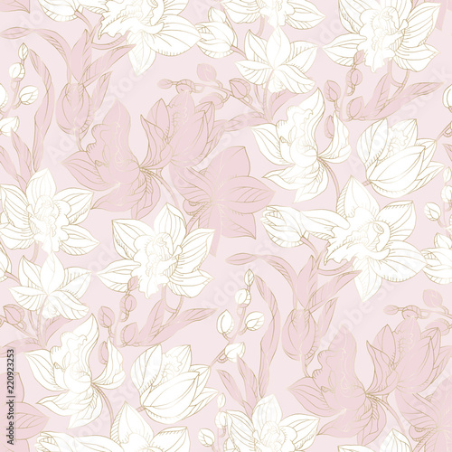 Wall Murals Vintage Flowers Orchid seamless pattern in pastel and gold color