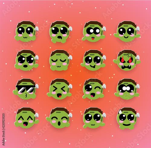 Cute Zombie Kawaii Emotion Emoji Halloween Buy This Stock