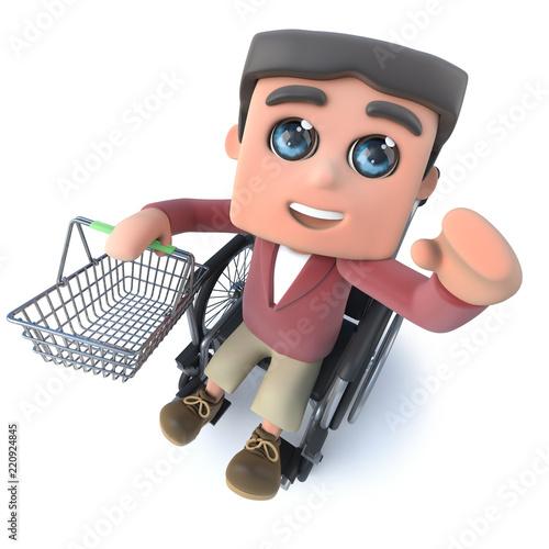 Fotografia, Obraz  3d Cartoon boy in wheelchair holding a shopping basket