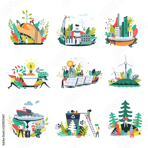 Ecology and save nature environment vector icons Wallpaper Mural