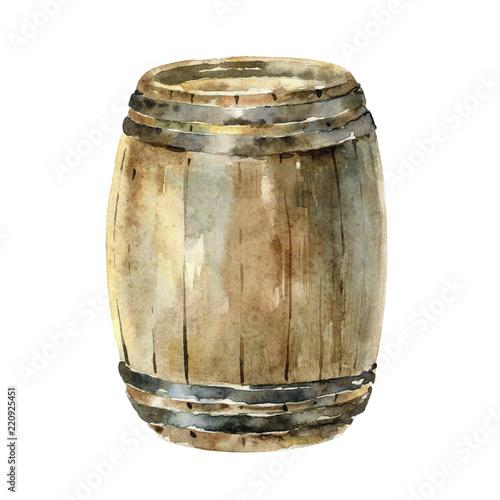 Watercolor wooden wine barrel isolated on white background Tapéta, Fotótapéta