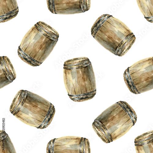 Carta da parati Seamless pattern with wooden wine barrels
