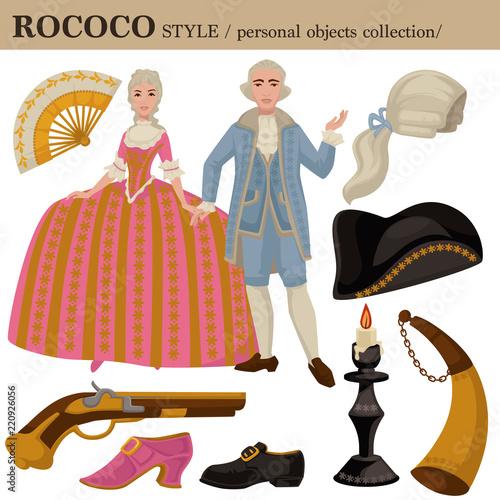 Fotomural Rococo European 18 century vector clothes style