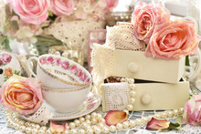 Shabby Chic Style Decorations With Tea Cups, Roses And Laces