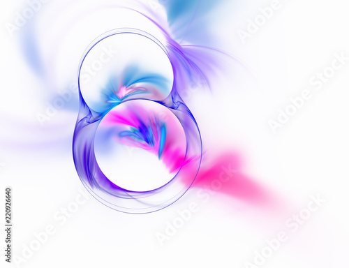 Abstract fractal purple number eight on white background