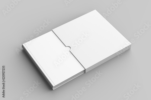 Fototapeta  Square slipcase book mock up isolated on soft gray background