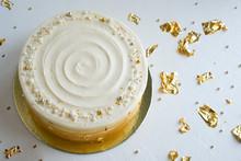 Cake With White Cream, Decorat...