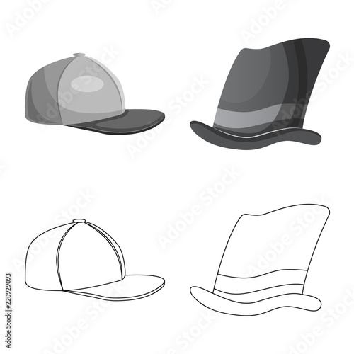 Photo  Vector illustration of headwear and cap icon