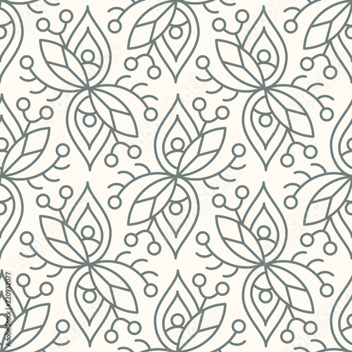 Poster Floral black and white Seamless linear minimalistic flower pattern on beige background