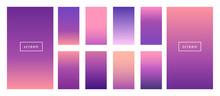 Soft Color Background. Modern Screen Vector Design For Mobile App. Blueberry, Violet, Purple, Rose, Pink, Blue Soft Color Gradients.
