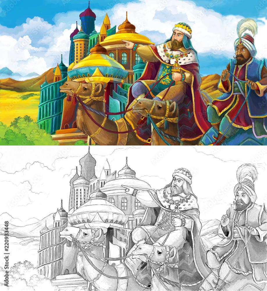 cartoon scene with princes or kings traveling near arabian castle- illustration for children